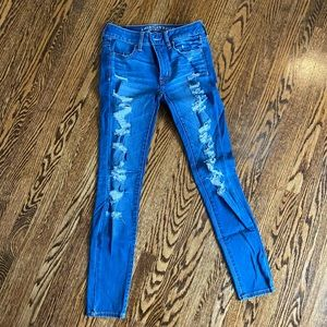 Blue jeans with rips